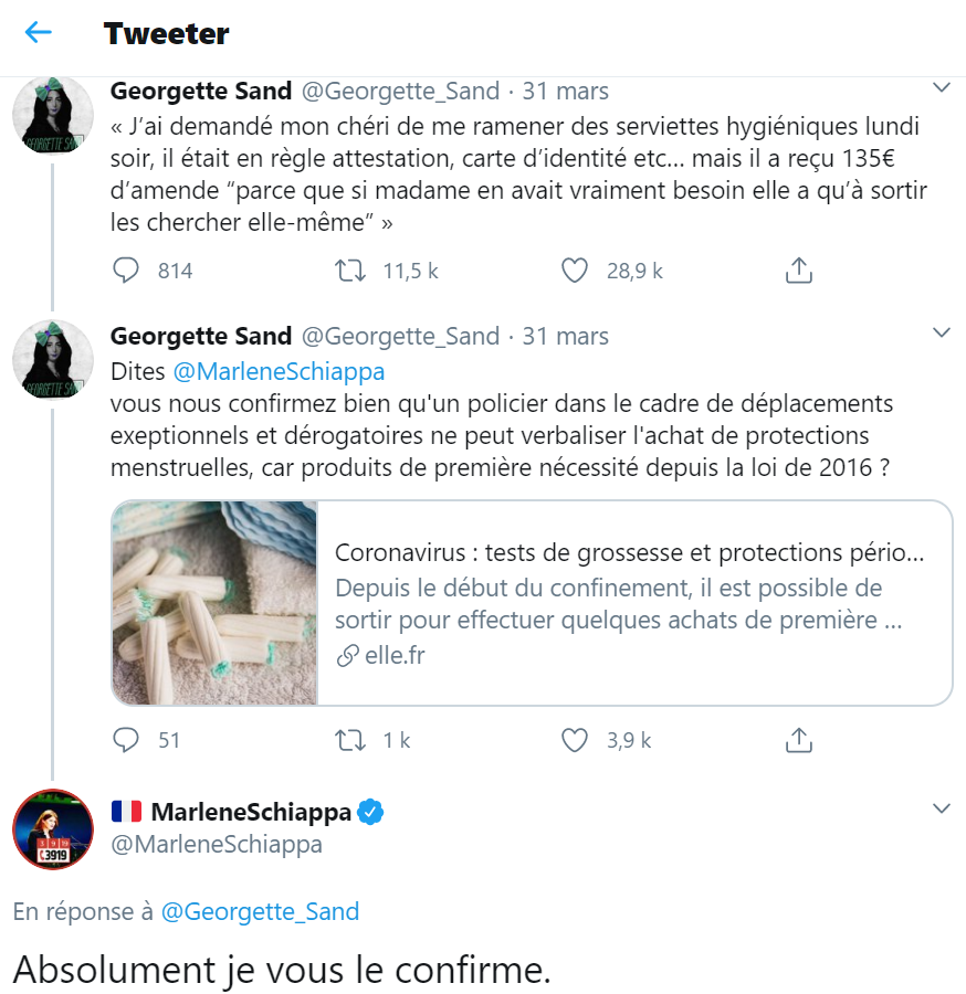 Capture d'écran d'un tweet du compte Georgette Sand